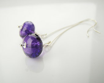 Amethyst earrings, dangle earrings, purple amethyst, long earrings, birthstone, sterling silver, 7PM  boutique, handcrafted jewelry