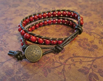 Ruby Red Double Wrap Beaded Double Bracelet, Crimson Stones, Antiqued Brass Button