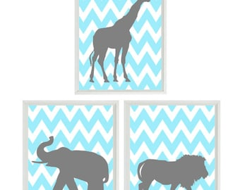 Baby Boy Nursery Art for Boys Room Decor, Chevron Aqua Gray Decor, Boys Wall Art for Boy Nursery Decor Playroom Boys Art Safari Zoo