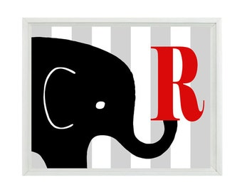 Elephant Nursery  Art Print - Initial Letter Stripes Red Black Gray Decor - Personalize Children Room Baby - Wall Art Home Decor  Print