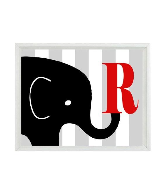 Elephant Nursery Art Print Initial Letter Stripes Red Black Gray Decor Personalize Children