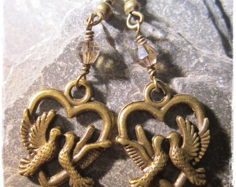 Vintage style love bird earrings with swarovski crystals in antique bronze