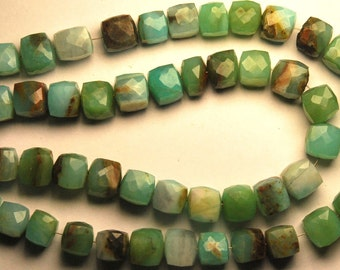 Peruvian Blue Opal Faceted 3D Box Shape Briolettes,Full 7 Inch Strand,8-9mm size