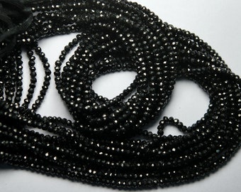 3 Strand,14 inch Strand,BLACK SPINEL Machine Cut Quality,Finest Quality Micro Faceted Rondelles,3.5mm