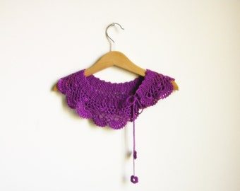 Peter pan Collar, detachable collar, Crochet collar, Purple, girlfriend gift, teacher gift, lace collar, girls gift