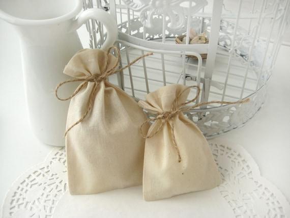 Muslin favor bags - Set of 100- Wedding favor bags -DIY wedding favor ...