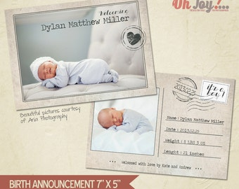INSTANT DOWNLOAD - Birth announcement card photoshop template 7x5 - BA105