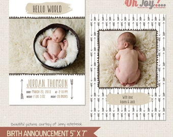 "INSTANT DOWNLOAD - Birth announcement card photoshop template 5x7 ""Tribal collection"" - BA114"