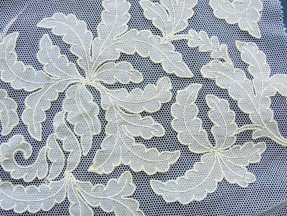 1920s Antique French Tulle Net Lace Applique Embroidered Leaf Pattern Salesmans Sample Bridal Flapper Era Downton Abbey Gatsby