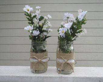 4 Burlap and Lace Mason Jar Centerpieces