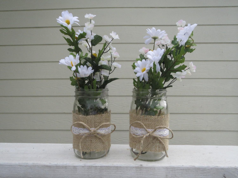 4 Burlap and Lace Mason Jar Centerpieces  4 Burlap and La...