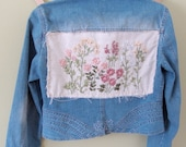 FLORA, recycled denim jacket with ribbon embroidery