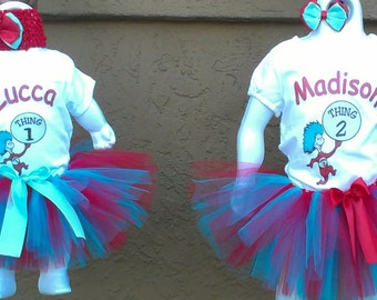 Thing 1 and Thing 2 Double Tutu Set
