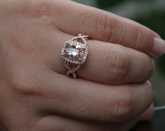 Rose Gold Morganite Engagement Ring Twisted Split Shank with Morganite Cushion 9x7mm and Diamonds in 14k Rose Gold Ring