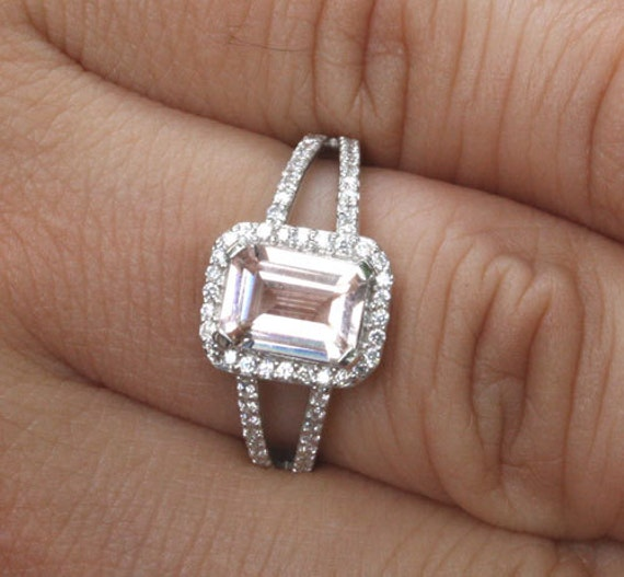 Peach Morganite Halo Ring Split Shank 14k White Gold with