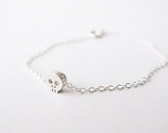 Tiny Silver Skull Bracelet