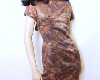 Vintage 1950's Rockabilly WIGGLE DRESS ~ Copper & Grey Floral Satin ~ XS ~ Mother of Bride ~ Pinup
