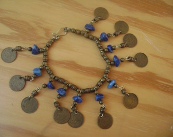 brass and lapis coin bracelet