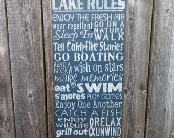 wooden sign, Lake Rules, subway art, wall hanging, wall art