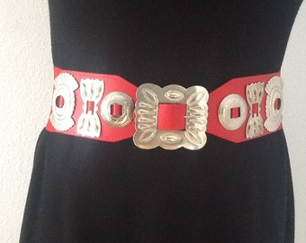Vintage Wide Red Elastic with Silver Trim Belt S/M