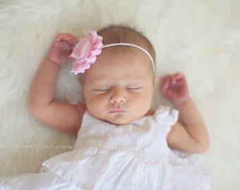 Light Pink Shabby Chic Headband..Newborn Headband..Baby Girl Headband..Headband..Infant Headband..Baby Headband..Rosette Flower Headband