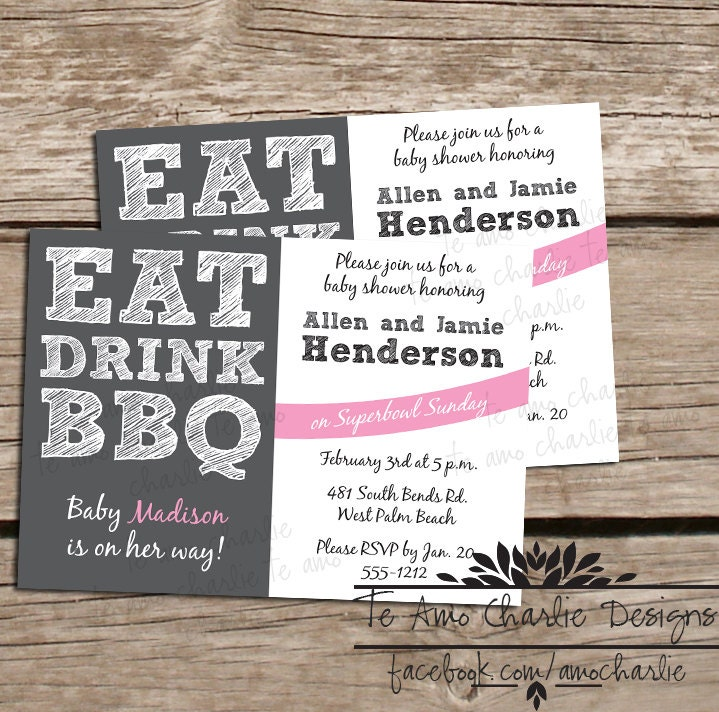 printable eat drink bbq baby shower invitations by palmbeachprints