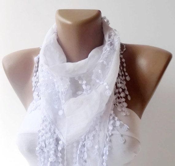 women fashion cotton scarves with lace white ivory, Turkish cotton Scarves, wedding, gift ideas - fashion scarf, white ivory scarf