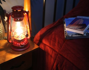 Electric Hurricane Lantern RED Converted Kerosene Oil Lamp