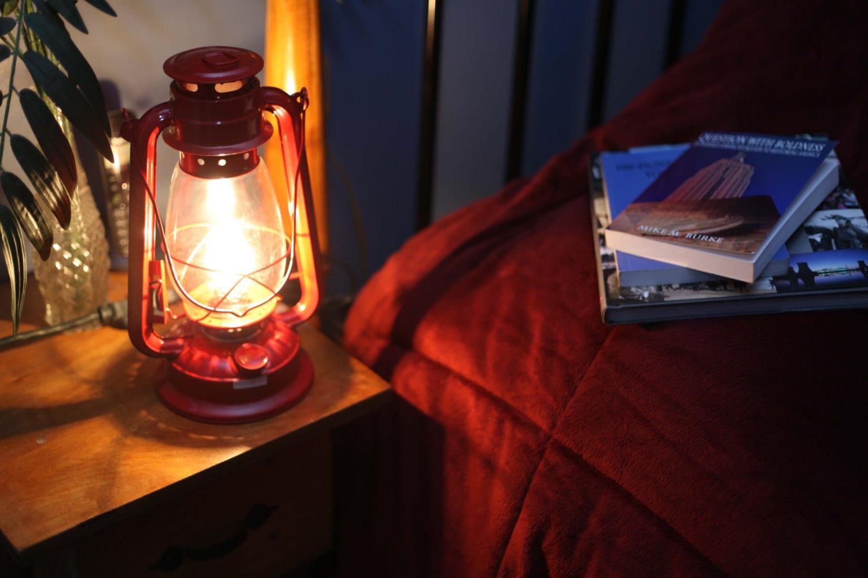 Electric Hurricane Lantern RED Converted Kerosene Oil Lamp