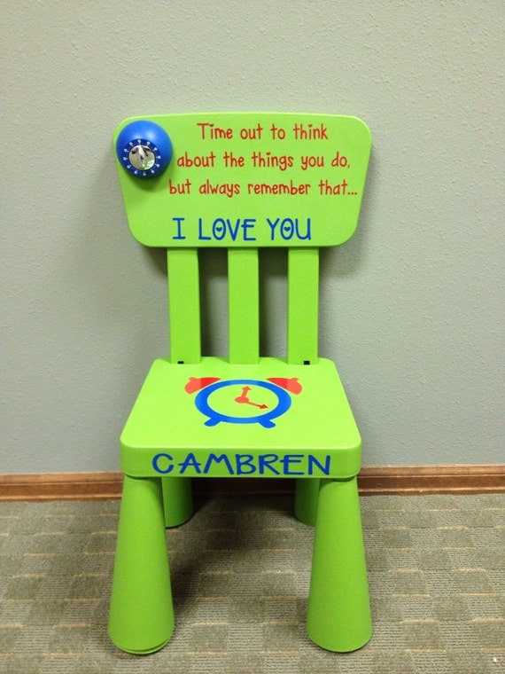 Items similar to personalized time out chair with timer light green on etsy