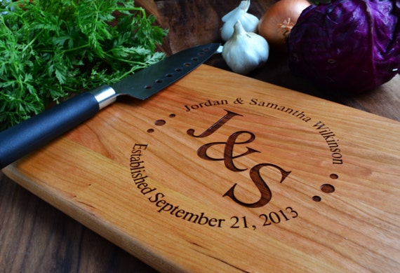 Personalized Cutting Board Circle With Initials Engraved