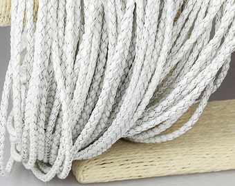 2mm Braided Leather Cord, White Genuine Leather Cord, Round Leather Cord, Pkg of 1 meter, D0F9.WH58.L1M
