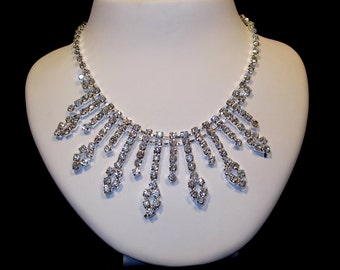Rhinestone Bridal Necklace, Wedding Rhinestone Necklace, Wedding Jewelry, Bridal Jewelry