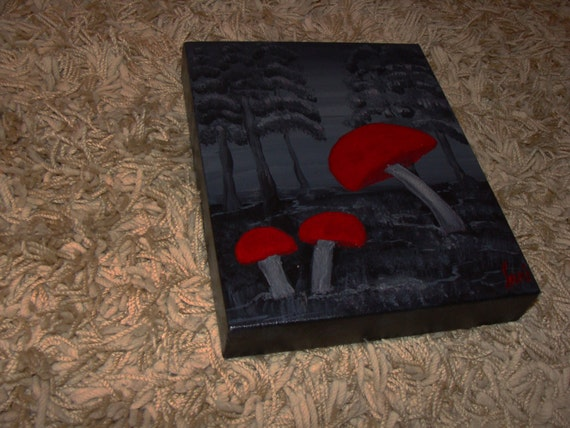 Mother's Day Gift Protection- Original Modern Painting red and black painting Wall Art, Acrylic Painting, Mushroom Painting by Sami