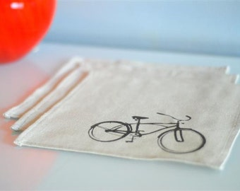 Set of 3 Vintage Bicycle Handkerchief Set ON SALE