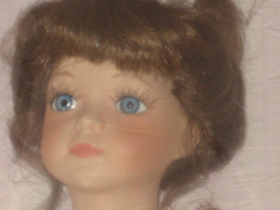 Genuine Porcelain Doll by Collectible Memories Limited Edition Display Stand Fine Bisque Porcelain Handcrafted