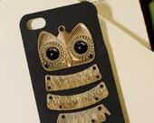 Antique Brass Owl Black Hard Case for Apple Iphone 4/4S