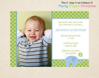 Little Peanut, Blue Elephant Birthday Invitation, Blue & Green - PRINTABLE, DIY by Party Paper Printables