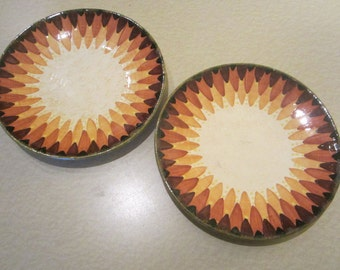 QUIMPER PLATES, 2, rarely seen Faience pattern, 1930's by P. Fouillen Quimper