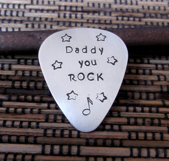 Guitar Pick - Daddy You Rock- Hand Stamped Guitar Pick- Father's Day Gift- Gift For Dad- Personalized Guitar Pick