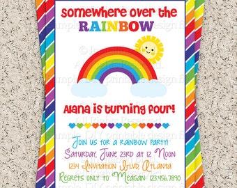 Rainbow Party Invitation - Rainbow Invitation - Rainbow Birthday Invitation - Girl's Birthday Party Printable Invitation