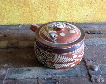 Red Clay Tortillera, Bandera style from Capula, Michoacan, Mexico