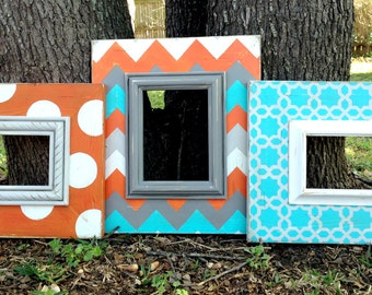 set of three distressed frames orange, turquoise, gray and white --chevron, polka dot & star chain