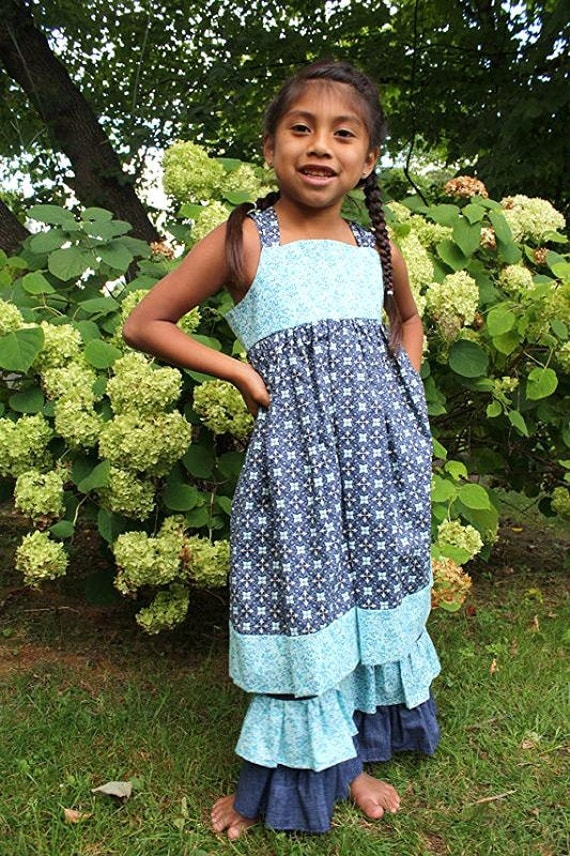 Clearance- Girls Size 5 Blue Print Dress with Ruffle Pants