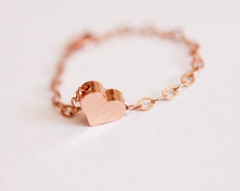 Dainty Heart Ring, Rose Gold Filled Heart ring, Stackable Ring with a Tiny rose Gold Heart, FREE SHIPPING