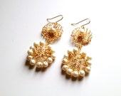 Wire Crochet Ivory Pearl Earrings, Bridal Earrings, Pearl Earrings, Wire Wrapped Earrings
