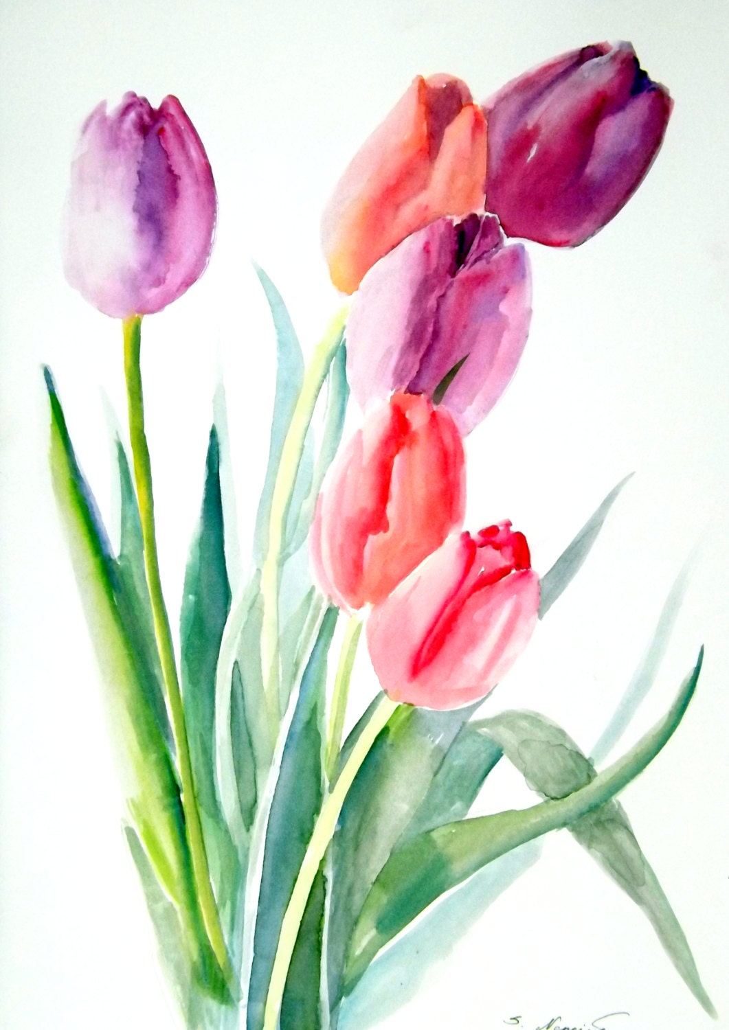 tulips original watercolor painting 12 x 9