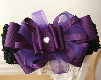 Purple Bow on Headband