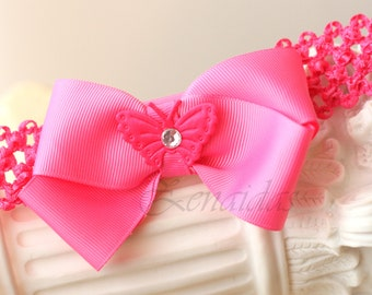 Pink Bow on Crochet Headband
