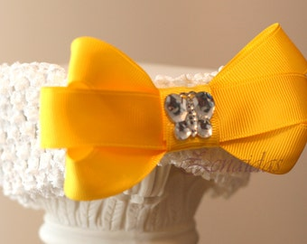 Yellow Bow on Crochet Headband